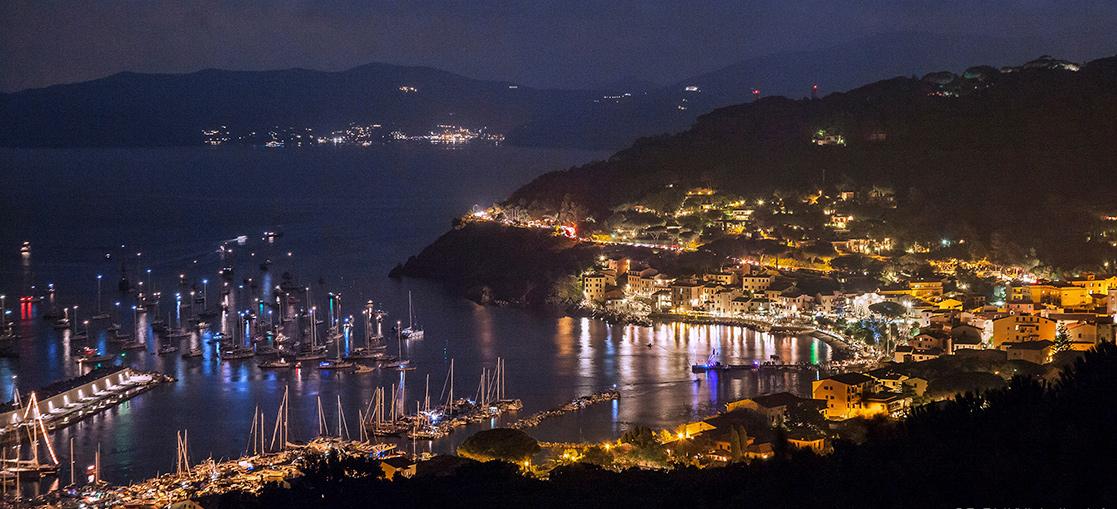 Insel Elba, nacht, see, port.